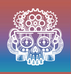 monsters skull with brain of gears vector image vector image