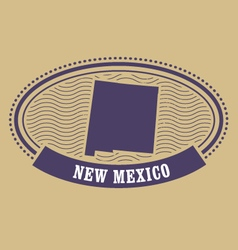 New mexico map silhouette - oval stamp of state vector