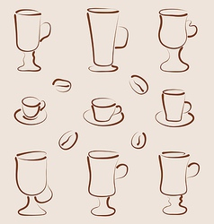 Outline set coffee and tea design elements vector image vector image