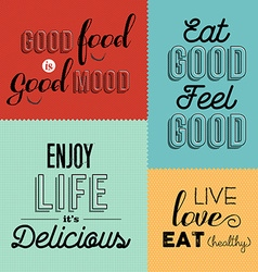 Retro food quote designs set of colorful labels vector
