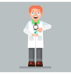 scientist character wearing glasses and lab coat vector image vector image