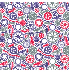 Seamless pattern with image of bicycle details vector