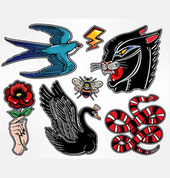set of animals and items in classic flash style vector image vector image