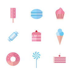 set of sweet food icons flat style vector image