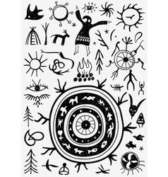 Shamans ritual doodles vector
