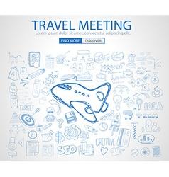 Sketch concept TravelMeeting b vector image vector image