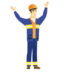 successful asian builder jumping vector image vector image