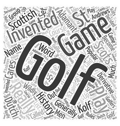 The history of golf word cloud concept vector
