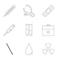 Treatment icons set outline style vector