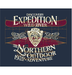 Vintage canoe wild river expedition adventure vector