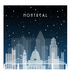 winter night in montreal night city in flat style vector image vector image