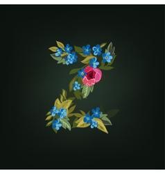 Z letter flower alphabet colorful font vector