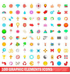 100 graphic elements icons set cartoon style vector