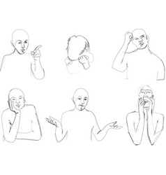Human body language in sketching vector