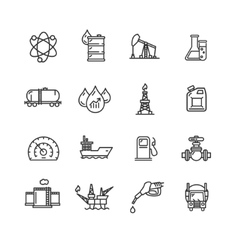 Oil industry outline icon set vector