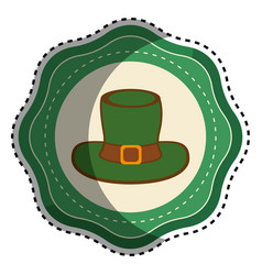 Green sticker hat accessory st patrick vector