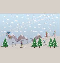 Ski lifts service in flat vector