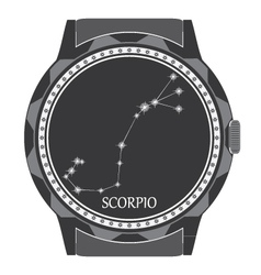 The watch dial with the zodiac sign scorpio vector