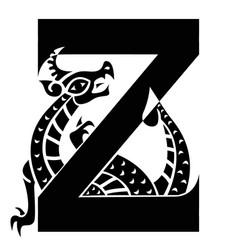 Capital letter k with gargoyle vector