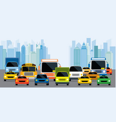 Vehicles on road with traffic jam vector