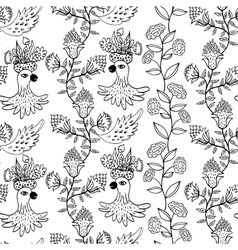 seamless pattern with flowers and birds vector image