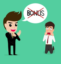 Business man shocked he does not get bonus vector