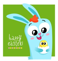 Easter greeting card template with bunny holding vector
