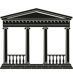 Portico of ancient temple with balustrade vector