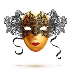 Golden full face carnival mask with ornate lacy vector