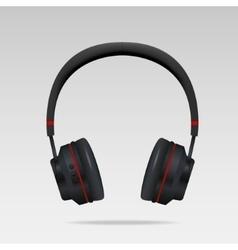 Realistic black headphones vector