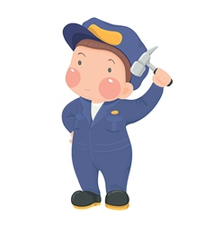 Service worker in blue work wear with hammer vector