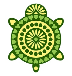 Animal green decorative turtle isolated vector
