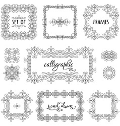 Set of hand-drawn calligraphic frames vector
