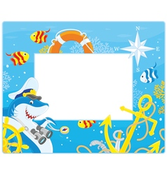 Frame with a shark captain vector