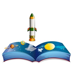 A book with planets and a rocket vector