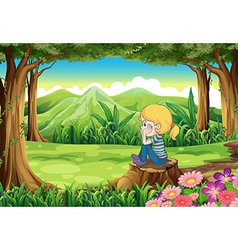 A sad girl sitting above the stump at the forest vector image vector image