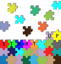 Building startup puzzle vector