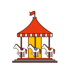 carnival carousel isolated icon vector image vector image