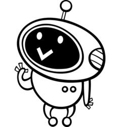 Cartoon kawaii robot coloring page vector