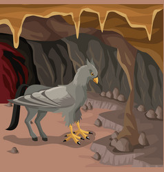 cave interior background with hippogriff greek vector image