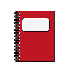 Color silhouette cartoon red notebook spiral vector