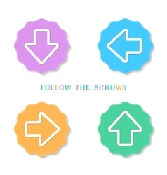 Colorful vintage arrow buttons vector image vector image