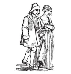Dress in sixteenth century vintage engraving vector