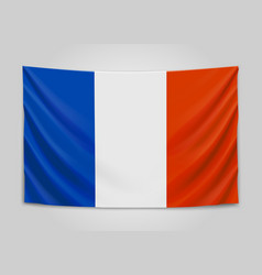 Hanging flag of france french republic french vector