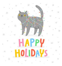 Happy holidays cat vector