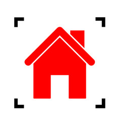 Home silhouette red icon vector