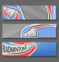 Horizontal banners for badminton vector