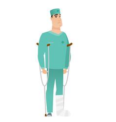 Injured doctor with broken leg vector
