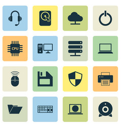 Laptop icons set collection of computer mouse vector