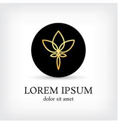 Lotus golden line logo circle design template vector